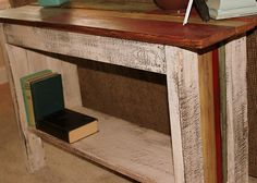 reclaimed salvaged wood sofa table http://bec4-beyondthepicketfence.blogspot.com/2011/10/scrappy-sofa-table.html