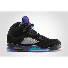 "Air Jordan 5 ""White Grape"" and ""Black Grape"" Release Dates ❤ liked on Polyvore featuring shoes, jordans and sneakers"