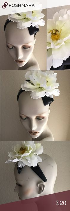 Chic French Designer Inspired CAMELLIA Headband This item is a chic, handmade, French designer-inspired headband. Body of item is a wide headband in faux leather and faux  patent leather. Headband is topped with a wide black satin ribbon bow and large white fabric Camellia flower.  Approximate measurements are 5 inches in width at headband when not being worn, 6 inches in length at headband, 8 inches in total length, flower measures approximately 6 inches in circumference. Don't miss this…