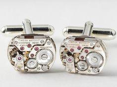 Steampunk cufflinks Steampunk Jewelry RARE vintage Genuine Omega watch movements wedding anniversary Gift silver cuff links men jewelry 2152 #steampunkcufflinks #steampunkjewelry #weddingjewelry