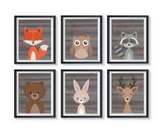 Forest Animals Unframed Art Prints Set - Qty 6 Gender Neutral Rustic Woodland nursery, bedroom, rabbit, owl, deer, fox, bear, raccoon by GraphicallyEverAfter on Etsy Gender Neutral Bedrooms, Nursery Neutral, Forest Nursery, Woodland Nursery, Storybook Nursery, Peter Pan Art, Animal Art Prints, Good Night Moon, 3rd Baby