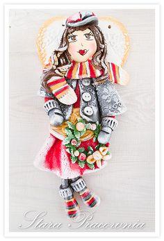 Zimowy aniołek z masy solnej, masa solna, aniołki z masy solnej, anioły z masy solnej, anioł z masy solnej, salt dough angels, salt dough craft, salt dough angel, figurka z masy solnej, figurki z masy solnej, ozdoby z masy solnej www.masa-solna.pl www.starapracownia.blogspot.com