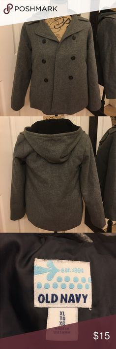 Girl's Wool Hooded Pea coat XL by old navy Girl's Wool Hooded Pea coat XL by old navy. In great condition. It doesn't have a number size but if fit my girls around the 10/12 size. Old Navy Jackets & Coats Pea Coats