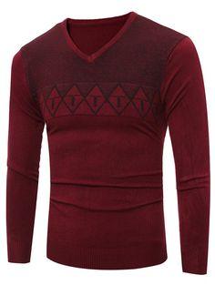 Rhombus Pattern V Neck Flat Kintted Sweater