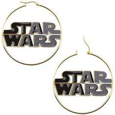 Star Wars Stainless Steel and Enamel Logo Hoop Earrings ($110) ❤ liked on Polyvore featuring jewelry, earrings, star wars, accessories, piercings, long earrings, enamel jewelry, earrings jewelry, logo jewelry and hinged earrings