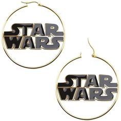 Star Wars Stainless Steel and Enamel Logo Hoop Earrings ($110) ❤ liked on Polyvore featuring jewelry, earrings, star wars, accessories, piercings, long earrings, enamel jewelry, earrings jewelry, logo jewelry and hinged earrings