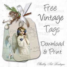Christmas is a time for giving - Free Printable Rare Victorian Vintage Christmas Tags !