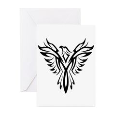 Tribal Phoenix Tattoo Bird Greeting Cards on CafePress.com