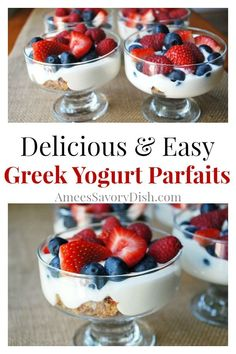 Greek yogurt parfaits with fresh berries and Clif Crunch bars creates a fruit parfait that is as delicious as it is healthy! Fruit Parfait, Greek Yogurt Parfait, Parfait Desserts, Parfait Recipes, Fruit Yogurt, Fruit Yoghurt Recipes, Yougurt Parfait, Yogurt Bar, Keto Diet Drinks