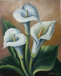 : Maher Art Gallery: Rinaldo Escudeiro /Still Life Flower Lily Painting, Flower Painting Canvas, Painting Prints, Watercolor Flowers, Watercolor Art, Acrilic Paintings, Calla, Butterfly Pictures, Floral Drawing