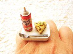 Kawaii Food Ring Banana Pie Miniature Food Ring by SouZouCreations, $12.50