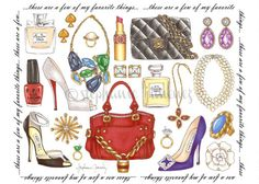 These are a few of my favorite things- Set of 10 Fashion Illustration Greeting Cards. $14.00, via Etsy.