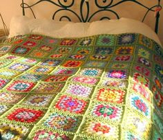 Crochet Afghan Blanket Granny Smith Apple Green by Thesunroomuk