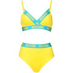 Moschino Bikini ($275) ❤ liked on Polyvore featuring swimwear, bikinis, bikini, swim, moschino, yellow, swimming bikini, bikini two piece, swim bikini and yellow bikini