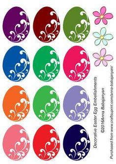 Decorative Easter Egg Embellishments on Craftsuprint designed by Anna Babajanyan - Set of 12 lovely egg embellishments for your Easter cards or Easter projects. On the sheet I have also included 3 cute flower embellishments which you can add to your card. - Now available for download!