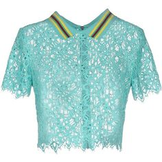 Dkny Blouse (7,085 THB) ❤ liked on Polyvore featuring tops, blouses, light green, dkny, short sleeve lace blouse, blue short sleeve top, lace blouse and dkny blouse