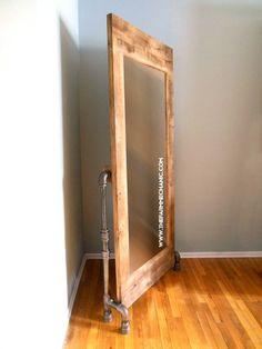 Artisan Floor Mirror with Black Pipe Legs image 4 Modern Flooring, Industrial Flooring, Rustic Industrial, White Flooring, Flooring Tiles, Rubber Flooring, Penny Flooring, Garage Flooring, Unique Flooring