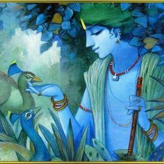 Krshna with Peacocks