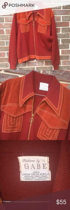 "70's Vintage sweater Stunning vintage sweater. True 70s fashion. Fashions by Gabe. 💯% Virgin Orlon Acrylic. Burnt orange color. Zips ip front. Great condition! Size large (fits medium, too) ✌️️Pit-pit is 20.5"" Two pockets on chest area. Vintage Sweaters Cardigans"