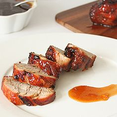 Chili and garlic rubbed pork tenderloin slathered with a sweet and sticky bbq apricot glaze, grilled with a hit of mesquite smoke.