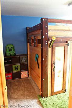 When my boyfriend's son moved into our house, his one request was the he wanted an awesome Minecraft room. So, an awesome Minecraft room he was given. Boys Minecraft Bedroom, Minecraft Bedding, Minecraft Room Decor, Minecraft Decoration, Minecraft Crafts, Minecraft Furniture, Mine Minecraft, Lego Bedroom, Minecraft Party