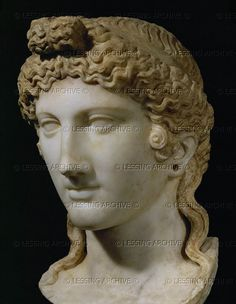 Head of the goddess Isis, marble. From the Ekklesiasterion, the Temple of the followers of the Isis-cult in Pompeii 3,3. Claudian Age, 1st CE   Museo Archeologico Nazionale, Naples, Italy