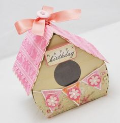 Birdhouse Cupcake Box  Happy Birthday  by CardsandMoorebyTerri, $8.75