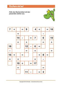 Rechnen Lernen Grundschule Add and Subtract up to 20 -puzzle for Class Mental Maths Worksheets, Math Addition Worksheets, Maths Puzzles, Preschool Worksheets, Math Activities, Math For Kids, Fun Math, Kindergarten Math, Teaching Math