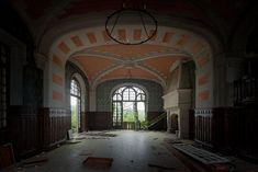 Grand salon in an abandoned chateau in France, by Le Luxographe