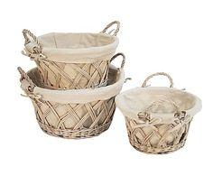 Set de 3 cestas de jacinto trenzado