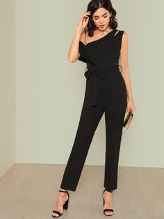 Asymmetrical Neck Solid Jumpsuit -SheIn(Sheinside)