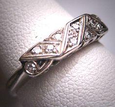 Antique Diamond Wedding Ring Band Art Deco by AawsombleiJewelry