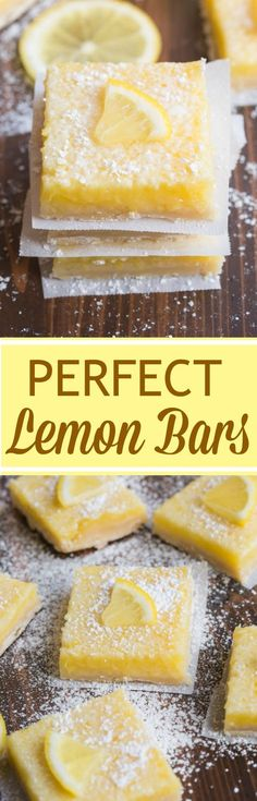 My favorite EASY lemon bars are perfect for Spring, with just the right ratio of buttery shortbread crust and creamy lemon filling. This lemon bars recipe reminds me of Sunday nights as a kid when Lemon Desserts, Lemon Recipes, Just Desserts, Delicious Desserts, Dessert Recipes, Yummy Food, Easy Recipes, Mini Desserts, Drink Recipes