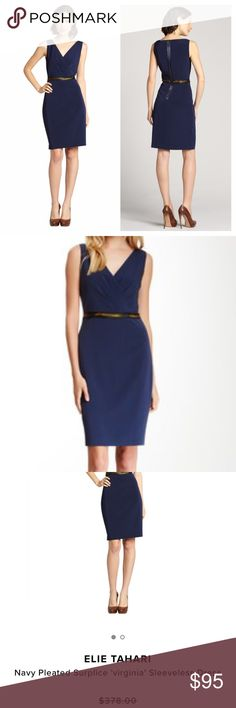 """Elie Tahari navy pleated dress Elie Tahari Lightweight Stretch Woven Pleated Surplice Neckline Sleeveless Contrast Banded Waist Rear Exposed Zip Fully Lined Body: 76% Triactete / 21% Polyester / 3% Polyurethane. Pristine condition. Perfect dress for going from work to a nice dinner. Length 37"""" pit to pit 18-18.5"""". Waist flat across 14"""". Elie Tahari Dresses"""