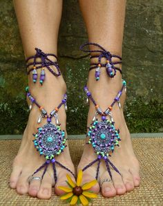 Bohemian DREAM BAREFOOT SANDALS sole less sandals beach wedding rainbow dance jewelry slave anklet foot jewelry bohemian shoes unique. $89.00, via Etsy.