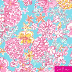 Large pink pineapples and yellow hibiscus flowers on a soft blue background - bohemio Lilly Pulitzer Patterns, Lilly Pulitzer Prints, Lily Pulitzer, Yellow Hibiscus, Hibiscus Flowers, Fabric Patterns, Print Patterns, Pineapple Art, Blue Backgrounds