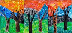 Creativity in the classroom and in life Art Lessons Elementary, Upper Elementary, Landscape Artwork, Sixth Grade, Art Projects, Mixed Media, Collage, Trees, Classroom