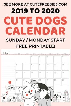 Free Printable 2020 Calendar With Dogs For A Happy Year! - Cute Freebies For You Free Printable Calender, Free Monthly Calendar, Dog Calendar, Print Calendar, Printable Cards, Printable Planner, Free Printables, Free Planner, Planner Diy