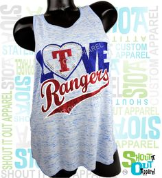 Texas Rangers glitter, rhinestone t-shirt -marble blue flowy tank - Love Rangers-F by ShoutitOutApparel on Etsy
