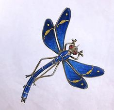 Antique Meyle & Mayer Sterling Enamel Depose Dragonfly Brooch Pin from quick-red-fox on Ruby Lane