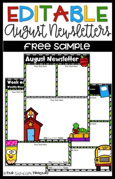 These EDITABLE Free August newsletters make communicating with your students' parents SO easy! Printable Letter Templates, Preschool Newsletter Templates, Classroom Newsletter Template, Cover Letter Template, Teacher Newsletter, Text For Her, Creative, Simple, Teacher Resources