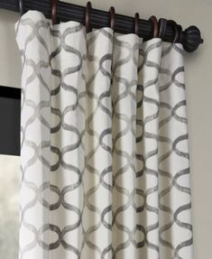 "Exclusive Fabrics & Furnishings Illusions Printed Cotton 50"" x 84"" Curtain Panel - Gray Cotton Curtains, Drapes Curtains, Geometric Curtains, Room Darkening Curtains, Cotton Lights, Printed Cotton, Illusions, Decorative Pillows, Prints"