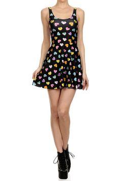 Candy Heart Skater Dress - Black