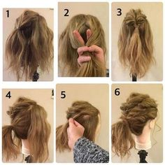 ゴム2つとピン4本でできちゃうアレンジです。 ①画像の様にトップの部分を分けとりゴムで結びます。 ②結んだ根元を画像の様に下から指をいれて割り毛先をいれてくるりんぱします。 ③くるりんぱした状態です。 ④耳後ろで分けて後ろの髪を結んでポニーテールにします。(くるりんぱした毛先も一緒に結びます。) ⑤サイドを上下に2つに分けておくれげを残したら上から画像の様に3、4回ねじり、ねじった毛束を指で少しずつひっぱり出してほぐします。ほぐしたらポニーテールの結び目に巻きつけピンでとめます。 ⑥残った下の部分ももみあげのおくれげを残したら5と同じ様に3、4回ねじってほぐしたら結び目に巻きつけピンでとめます。  反対側も同じやり方です。最後におくれげをコテで巻いたらできあがりです!