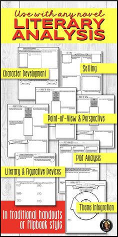 Literary Elements Analysis Interactive Notebook Flipbook for Any Novel Teaching Activities, Teaching Resources, Teaching Secondary, Literary Elements, Middle School English, Reading Strategies, Interactive Notebooks, Novels, Character Development