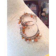Carnelian Hoop Earrings, Pearl, Chalcedony, Dangley, Pierced, Sterling... (€135) via Polyvore featuring jewelry, earrings, sterling silver pearl earrings, dangle earrings, pearl hoop earrings, circle earrings and vintage hoop earrings