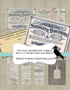 Vintage Pharmacy Apothecary Labels Digital Collage Sheet - Digital DIY - Printable Download. $3.25, via Etsy.