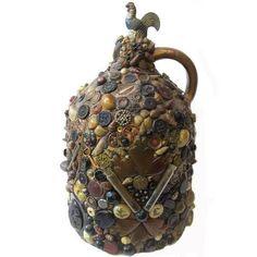 Antique Stoneware Memory Jug Sidney Center NY Buttons, Shells, Key, Doll, Jewels #Americana