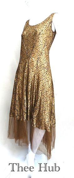 incredible peacock gold lame lace work original 1920s dress