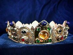 Ornate Hinged Coronet. - 18K gold with silver trim and many gemstones.